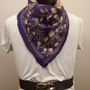 Purple paisley and Roses print scarf